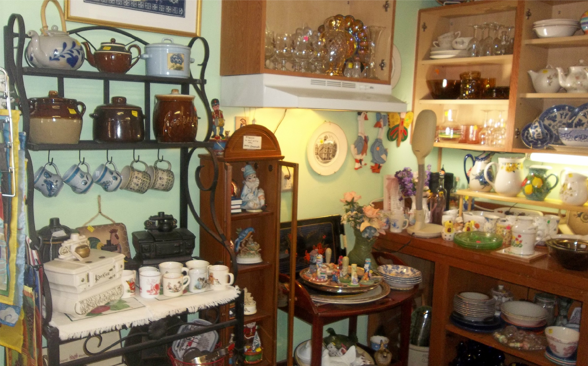 collectibles and home decor for sale at New To You Shop in Unity Maine